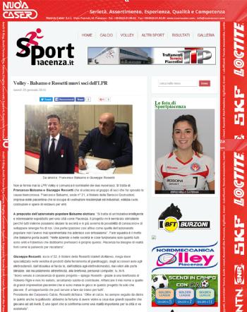25 Gennaio 2016 - Barocco Costruzioni nuova azionaria di LPR Volley Piacenza