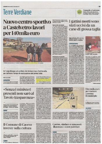 """22 Febbraio 2017 - Anche la """"Libertà"""" scrive sul nuovo intervento a Castelvetro."""